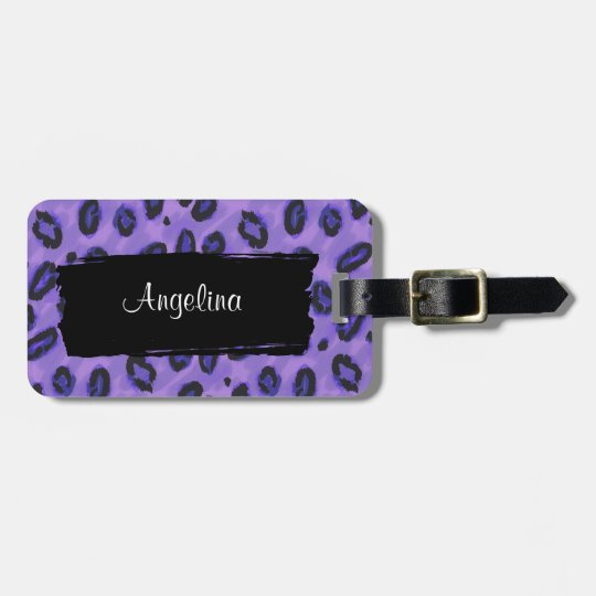 Funky Purple Leopard Luggage Identity Tag