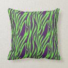 Funky Purple & Neon Green Zebra Print Pillow