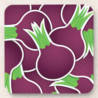 Funky purple onions beverage coaster
