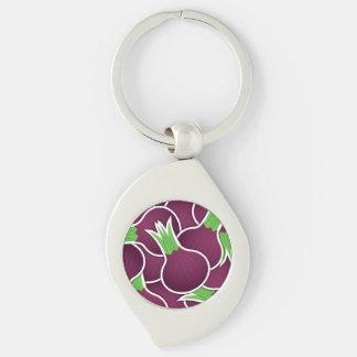Funky purple onions Silver-Colored swirl keychain