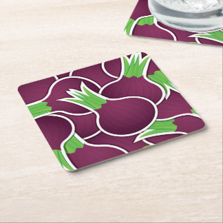 Funky purple onions square paper coaster