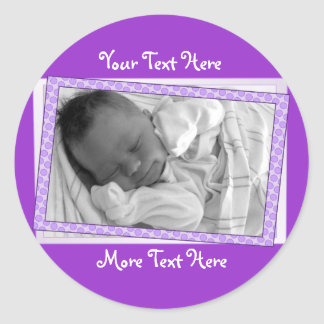Funky Purple Polkadot Frame Stickers