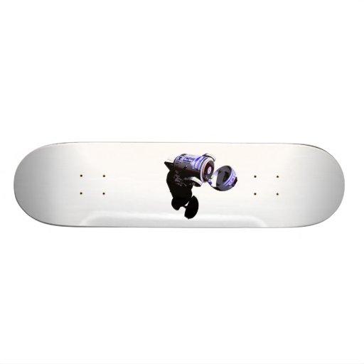 Funky R2 unit spins a White Label Custom Skateboard
