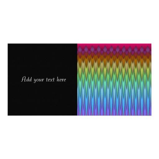 Funky Rainbow Abstract Fractal Art Photo Card