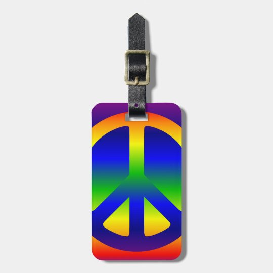 Funky Rainbow Peace Symbol Luggage Tag