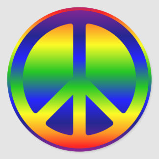 Funky Rainbow Peace Symbol Stickers