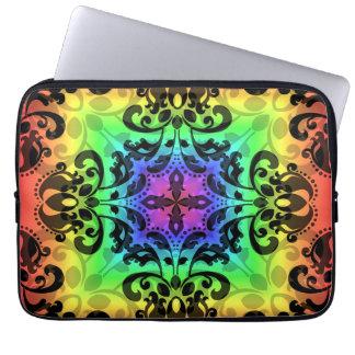 "Funky rainbow square damask 13"" computer sleeve"