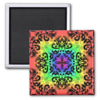Funky rainbow square damask square magnet