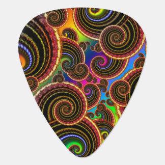 Funky Rainbow Swirl Fractal Art Pattern Guitar Pick