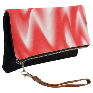 Funky Red and White Waves Clutch