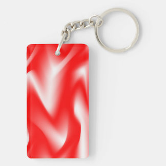 Funky Red and White Waves Keychain