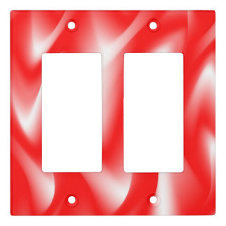 Funky Red and White Waves Light Switch Cover