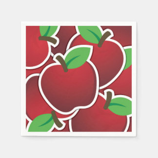 Funky red apples disposable napkin