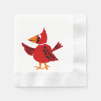 Funky Red Cardinal Bird Art Disposable Napkins