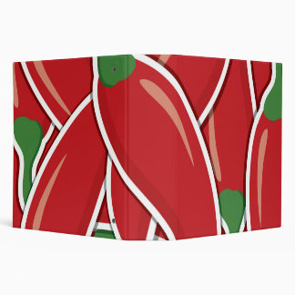 Funky red chilli peppers 3 ring binder