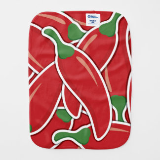 Funky red chilli peppers burp cloths