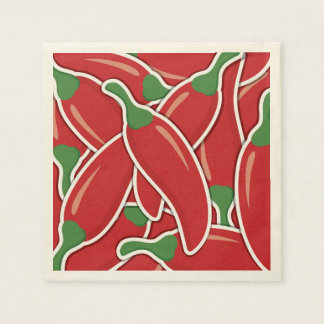 Funky red chilli peppers disposable napkin