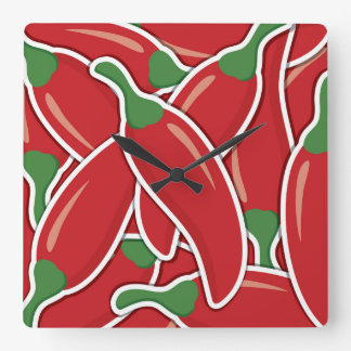 Funky red chilli peppers square wall clock