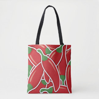 Funky red chilli peppers tote bag