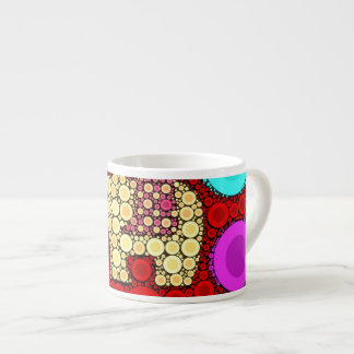 Funky Red Elephant Concentric Circles Mosaic Espresso Cup