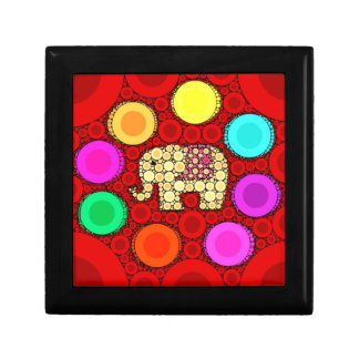 Funky Red Elephant Concentric Circles Mosaic Gift Box
