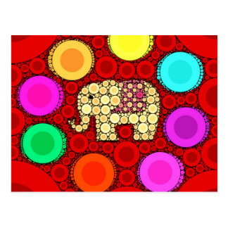 Funky Red Elephant Concentric Circles Mosaic Postcard
