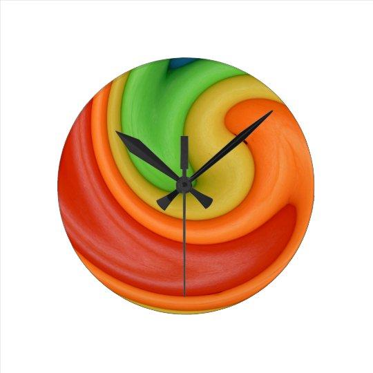 Funky Red Orange Yellow & Green Swirly Round Clock