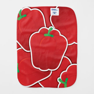Funky red pepper burp cloths