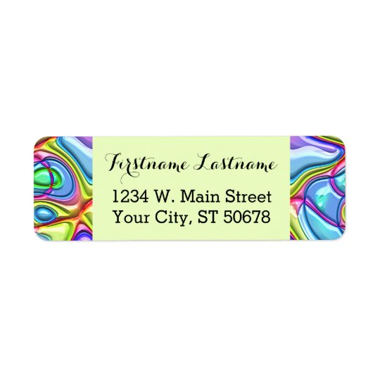 Funky Retro Abstract Colourful Swirl Waves Pattern Return Address Label