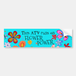 Funky Retro ATV Runs on Flower Power Bumper Sticker