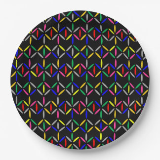 funky retro bold on black paper plate