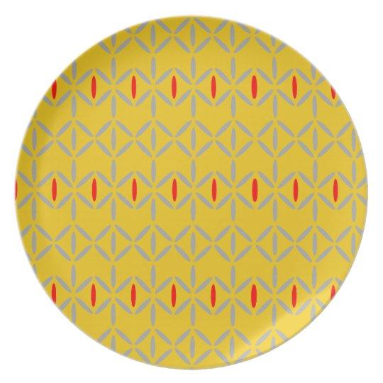 funky retro bold on mustard melamine plate