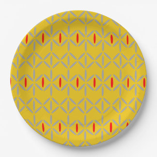 funky retro bold on mustard paper plate