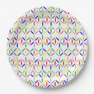 funky retro bold on white paper plate