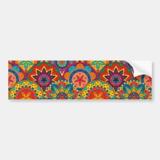 Funky Retro Colorful Mandala Pattern Bumper Sticker