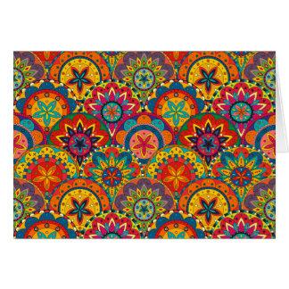 Funky Retro Colorful Mandala Pattern Card