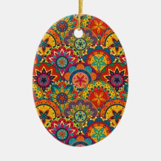 Funky Retro Colorful Mandala Pattern Ceramic Oval Ornament