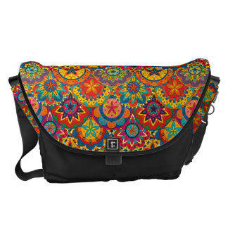 Funky Retro Colorful Mandala Pattern Messenger Bag