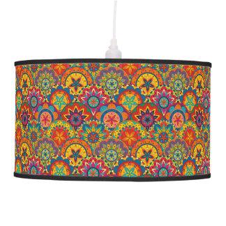 Funky Retro Colorful Mandala Pattern Pendant Lamp
