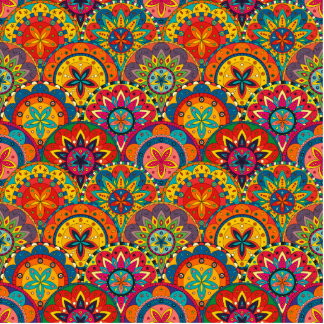 Funky Retro Colorful Mandala Pattern Photo Sculpture Ornament