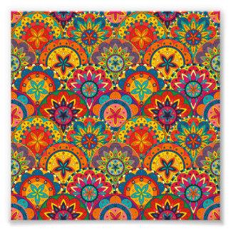 Funky Retro Colorful Mandala Pattern Photograph