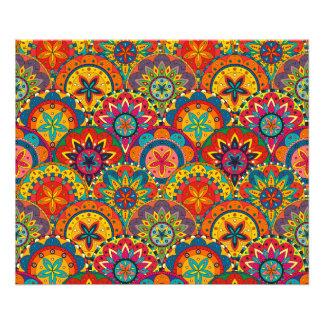 Funky Retro Colorful Mandala Pattern Photographic Print