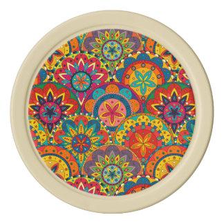 Funky Retro Colorful Mandala Pattern Poker Chips