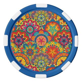 Funky Retro Colorful Mandala Pattern Poker Chips Set
