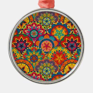 Funky Retro Colorful Mandala Pattern Silver-Colored Round Ornament
