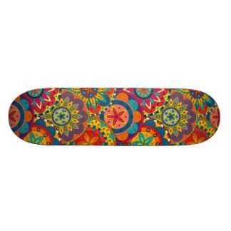 Funky Retro Colorful Mandala Pattern Skateboard