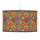 Funky Retro Colourful Mandala Pattern Pendant Lamp