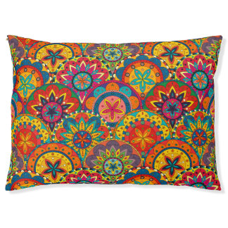 Funky Retro Colourful Mandala Pattern Pet Bed
