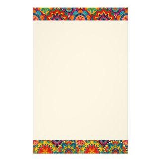 Funky Retro Colourful Mandala Pattern Stationery Paper