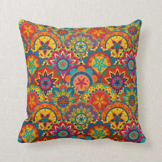 Funky Retro Colourful Mandala Pattern Throw Pillow